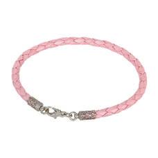 Кожаный женский браслет розовый с серебряным застежкой 13171-1
