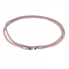 Гайтан шелковый женский светло-розового цвета с серебряным застежкой 13171-10