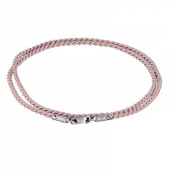 Гайтан шелковый (светло-розовый) с серебряным застежкой 13171-10