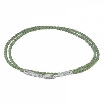 Шнурок для подвески из шелка оливкового цвета с серебряным застежкой 13171-11