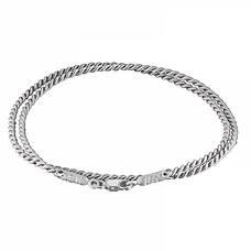 Гайтан шелковый белого цвета с серебряным застежкой 13171-12