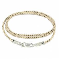 Шелковый шнурок для подвески цвета слоновая кость с серебряным застежкой 13171-13
