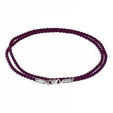 Шнурок для кулона шелковый фиолетового цвета с серебряным застежкой 13171-15