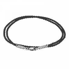 Мужской гайтан на шею шелковый цвета графит с серебряным застежкой 13171-16