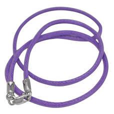 Хлопковый ювелирный шнурок фиолетового цвета с серебряной застежкой 13171-18