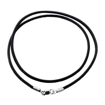 Шнурок плетеный на шею черного цвета из нейлона с серебряной застежкой 13171-19