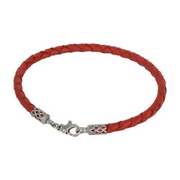 Браслет на руку из плетеного кожаного шнурка красного цвета с серебряным карабином 13171-2
