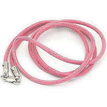 Гайтан женщин на шею розового цвета из хлопка с серебряной застежкой 13171-24