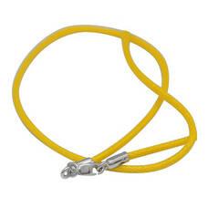 Шнурок на шею для крестика желтого цвета из хлопка с серебряной застежкой 13171-26