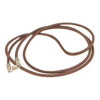 Плетеный гайтан из хлопка для крестика коричневого цвета с серебряным карабином 13171-28