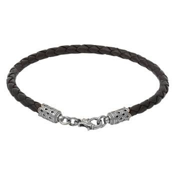 Браслет на руку из плетеного кожаного шнурка черного цвета с серебряным застежкой 13171-3