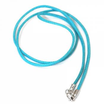 Шнурок на шею бирюзового цвета из хлопка с серебряной застежкой 13171-30
