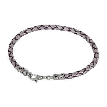 Браслет на руку из плетеного кожаного шнурка серого цвета с серебряным карабином 13171-4