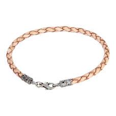 Браслет на руку из плетеного кожаного шнурка светло-коричневого цвета с серебряным застежкой 13171-5
