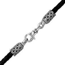 Гайтан на шею для крестика из плетеного кожаного шнурка черного цвета с серебряным застежкой 13171-6