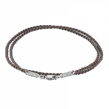 Гайтан шелковый бежевого цвета с серебряным застежкой 13171-9