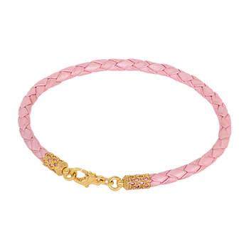Женский браслет на руку из плетеного кожаного шнурка розового цвета с позолоченной застежкой 13172-1