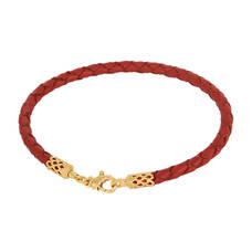 Браслет на руку из плетеного кожаного шнурка красного цвета с позолоченным замком 13172-2