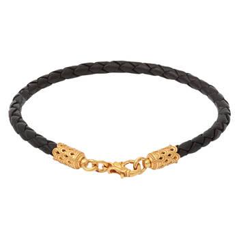 Браслет на руку из плетеного кожаного шнурка черного цвета с позолоченной застежкой 13172-3