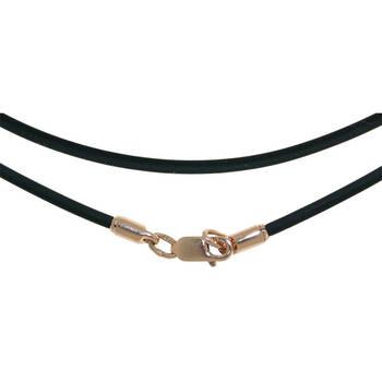 Каучуковый шнурок для крестика черного цвета с позолоченной застежкой 13172-32
