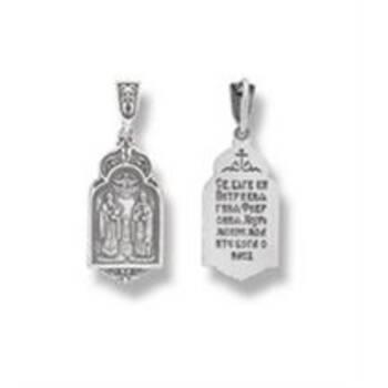 Образок нательный серебро Ag 925 «Петр и Феврония» (арт. 13121-620)