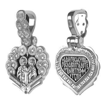 Натальная иконка серебряная Ag 925 «Петр и Феврония» (арт. 13122-28)