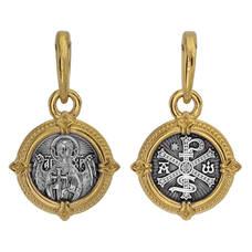 Натальная иконка серебряная Ag 925 «Ангел-Хранитель, Хризма» (арт. 13122-92)