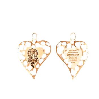 Натальная иконка золото Au 585 «Богородица (Семистрельная, Умягчение злых сердец)» (арт. 13123-155)