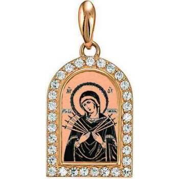 Натальная иконка золотая Au 585 «Богородица (Семистрельная, Умягчение злых сердец)» (арт. 13123-71)