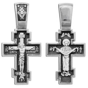 Крест православный серебряный «Богородица (Покрова)» (арт. 13111-270)