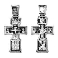 Крест православный серебро «Богородица, Николай Чудотворец, Святая Троица» (арт. 13111-395)
