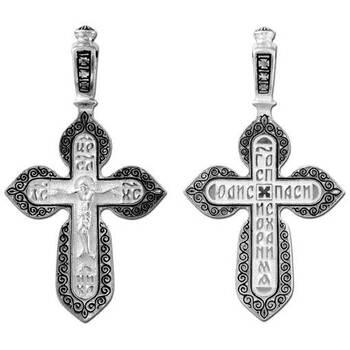 Крест серебряный «Господи, спаси и сохрани мя» (арт. 13111-4)