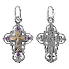 Крест из серебра и золота Au 585 (арт. 13111-432)