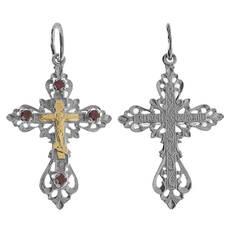 Крест из серебра и золота Au 585 (арт. 13111-467)