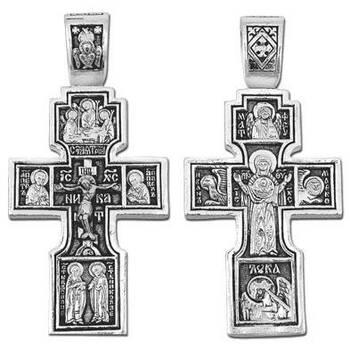 Крестик нательный из серебра «Богородица (Знамение)» (арт. 13111-5)
