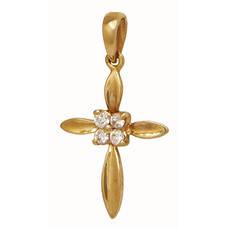 Крест золотой Au 585 с бриллиантами (арт. 13114-11)