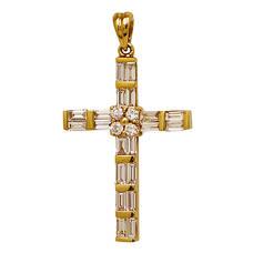 Крест золотой Au 585 с бриллиантами (арт. 13114-12)