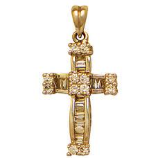 Крест нательный золотой Au 585 с бриллиантами (арт. 13114-8)